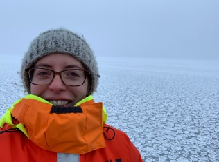 Team Leader Louise Biddle in the sea ice
